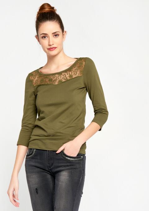T-shirt met 3/4 mouwen en kant - KHAKI DARKY - 02300086_4208