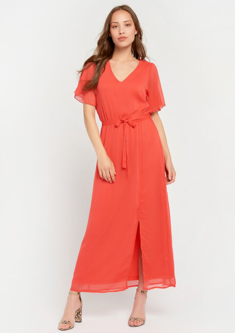 Lange effen jurk met v-hals - CORAL GERBERIA - 08600100_5405