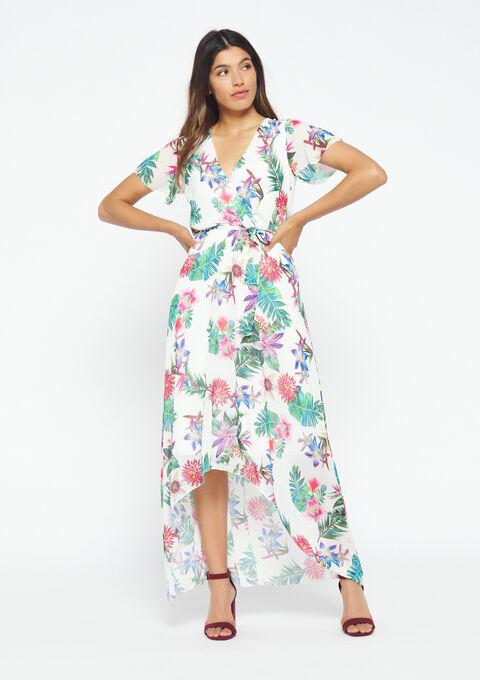 Lange jurk met bloemen - WHITE ALYSSUM - 950621