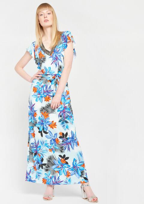 Lange jurk met versierde kraag, print - ORANGE SUNSET - 947341