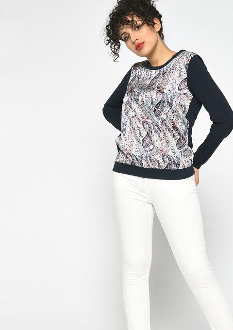 Bimaterial sweatshirt - NAVY HEAVEN - 03001471_2711
