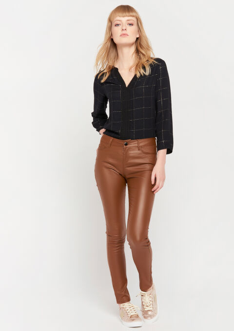 Broek met coated effect - TOFFEE BROWN - 06003889_1154
