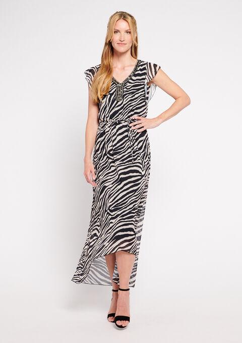 Lange zebra jurk met v-hals - BLACK BEAUTY - 08600140_2600