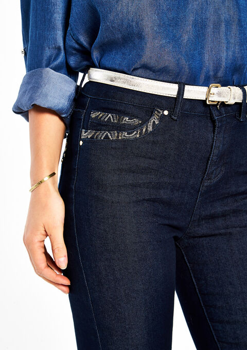 Slim jeans met lovertjes & riem - DARK BLUE - 06003279_501
