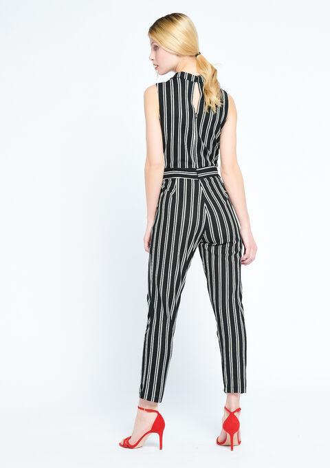 Striped jumpsuit - BLACK - 06003884_1119