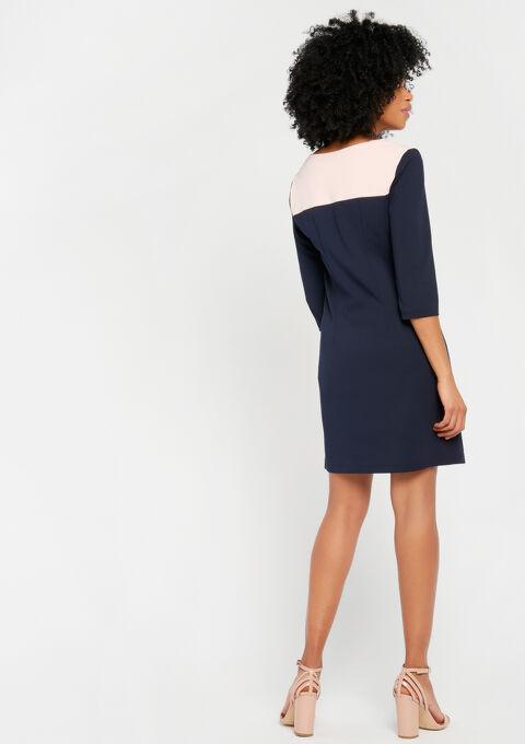 Rechte jurk, 2 kleuren en tape - NAVY MILD - 08100559_2712