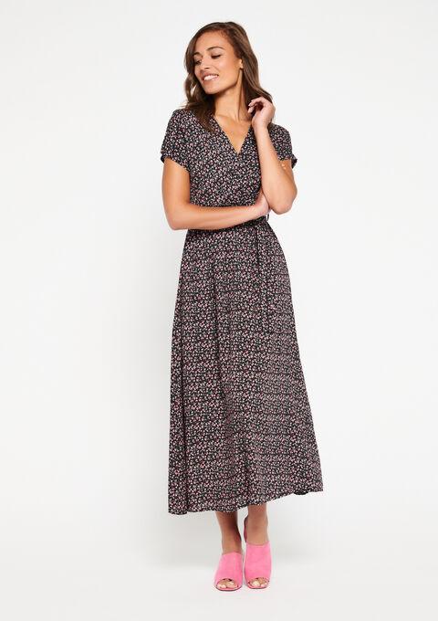 Lange jurk met bloemenprint - BLACK BEAUTY - 08600605_2600