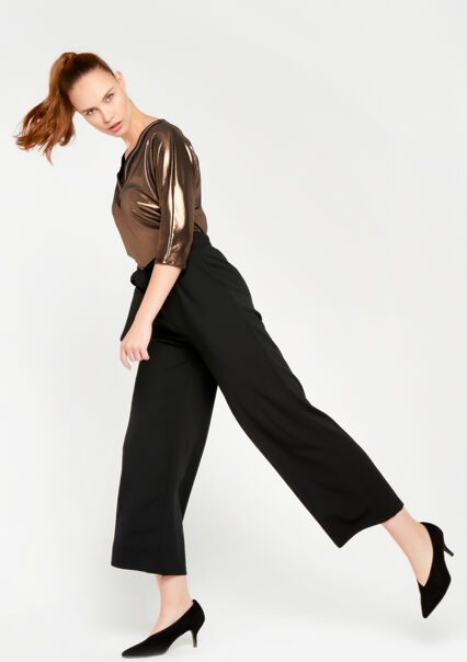 Wide legged paperbag trousers - BLACK - 06600051_1119