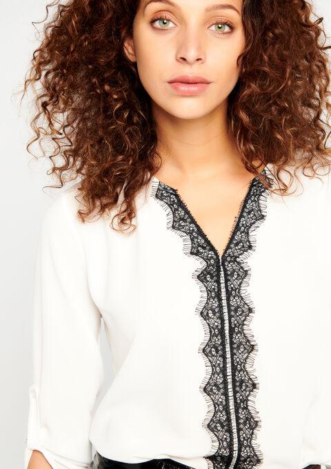 Effen blouse met contrasterende kant - OFFWHITE - 05700093_1001