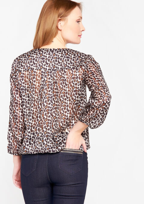 Blouse met luipaardprint - CAMEL ALMOND - 05700273_3807