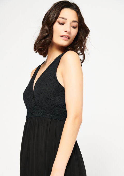 Effen maxi-jurk met cache coeur-hals - BLACK - 08600451_1119
