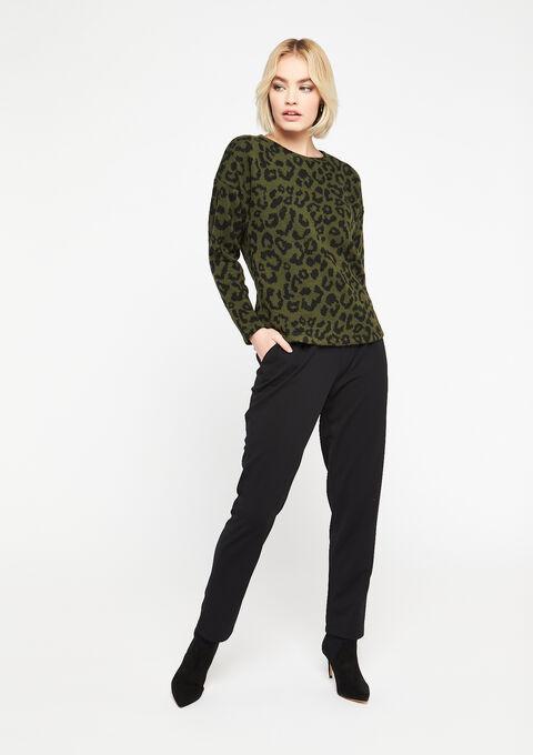 Sweater met luipaard print - KHAKI TAN - 03001476_4319