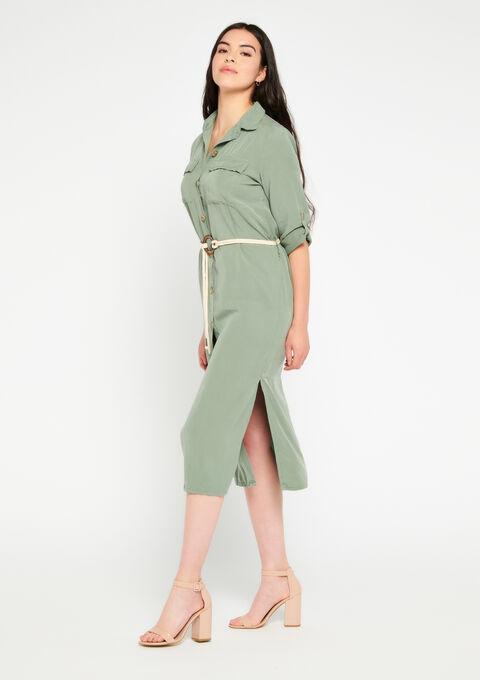 Midi hemd jurk tencel - KHAKI FIG - 08600803_4305