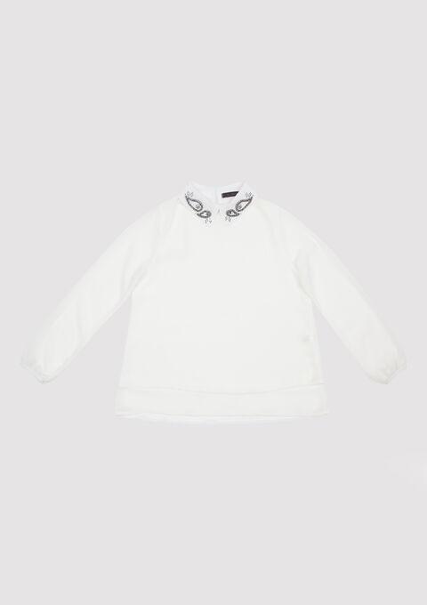 Hemd met parels op de kraag - WHITE ALYSSUM - 05700244_2502