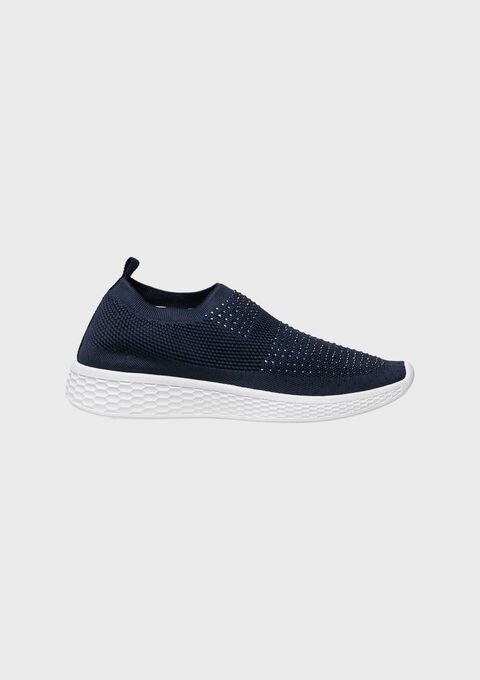 Sock sneakers with strass - BLUE IRIS - 13000367_1690