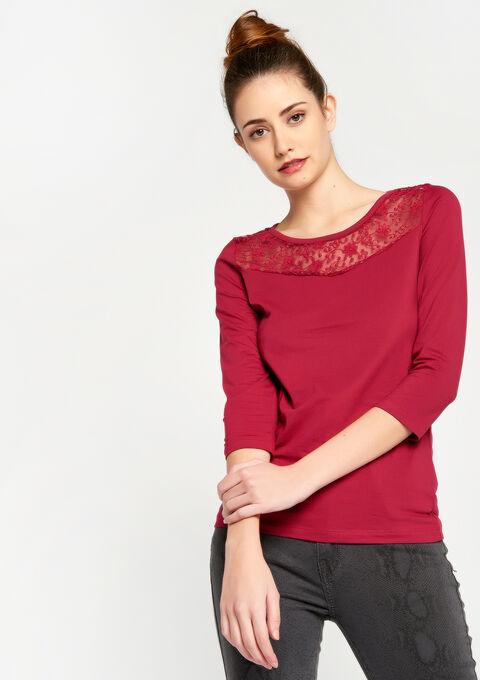 T-shirt met 3/4 mouwen en kant - ANEMONE PINK - 02300086_5611