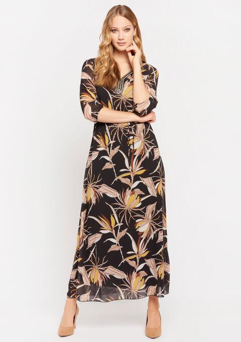 Robe maxi encolure décorée - BLACK BEAUTY - 08600993_2600