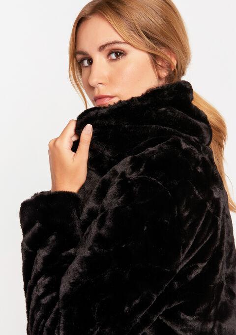 Mantel met imitatiebont - BLACK - 23000135_1119