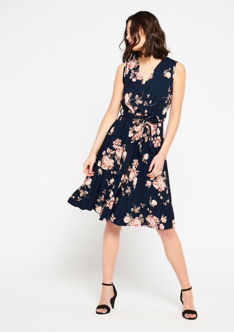 Wrap dress with printed roses - NAVY BLUE - 08101025_1651