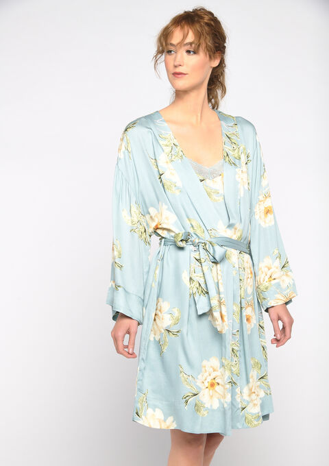 Dames kimono met bloemenprint - GRAY MIST - 15100029_1580