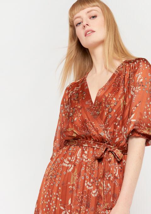 Maxi robe imprimé fleurs - BRIQUE ORANGE - 967920