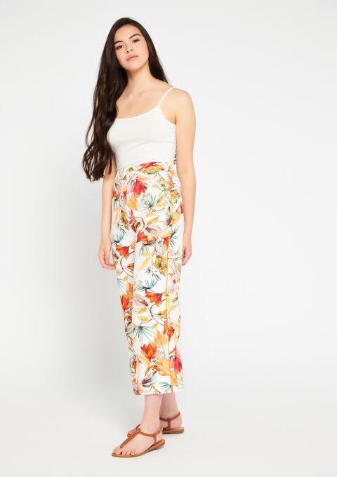 Wijde broek 3/4 bloemenprint - ECRU WHITE - 958685