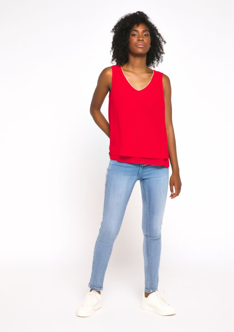 Blouse mouwloos - REAL RED - 05700328_1393