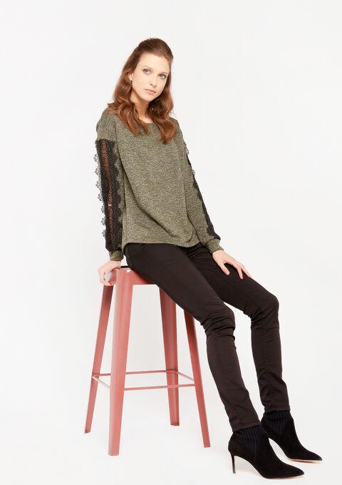 Sweater met kanten details - KHAKI - 03001449_433