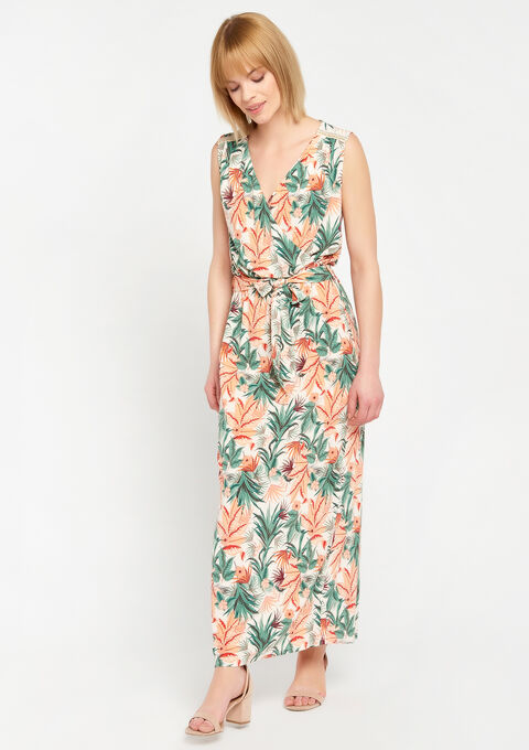 Lange  cache coeur jurk met parels - PEACH BUD - 08100531_1963