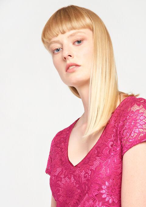 Kanten jurk met v-hals - FESTIVAL FUCHSIA - 08005898_5606