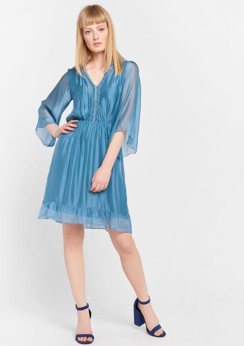 Mini jurk zijde - INDIGO BLUE - 08006065_1658