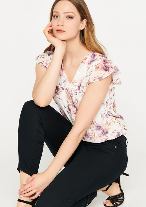 Blouse bloemenprint ruche mouwen - NATURAL WHITE - 05701419_2510