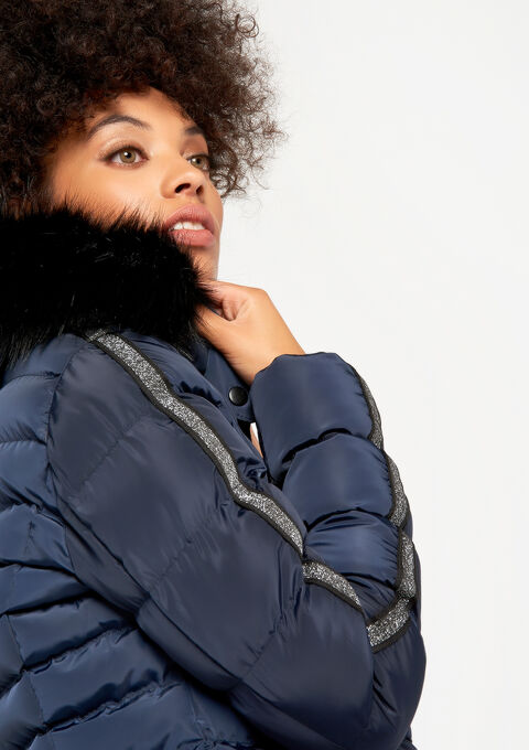 Gewatteerde jas met kap - NAVY BLUE - 23000069_1651