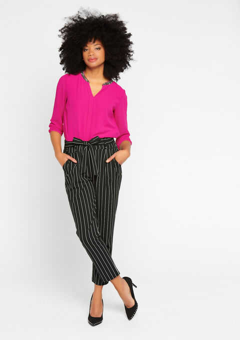 Effen blouse, kraag met lovertjes - VIOLET VIVID - 05700129_5902