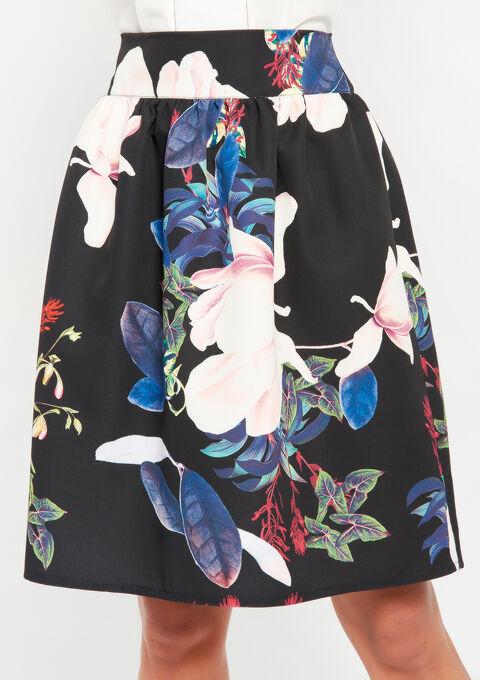 Tulprok met bloemenprint - BLACK - 07100151_1119