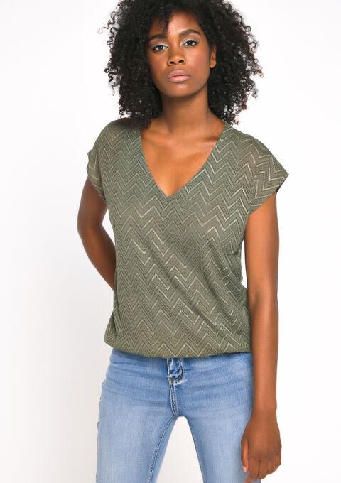 T-shirt met zigzagpatroon, v-hals - KHAKI DARKY - 02300189_4208