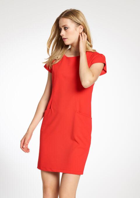 94428b282cceb3 Effen rechte jurk met korte mouwen - RED ORANGE - 08004617 1397