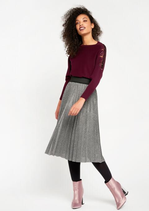Halflange rok , plissé, lurex - SILVER - 07100132_1059