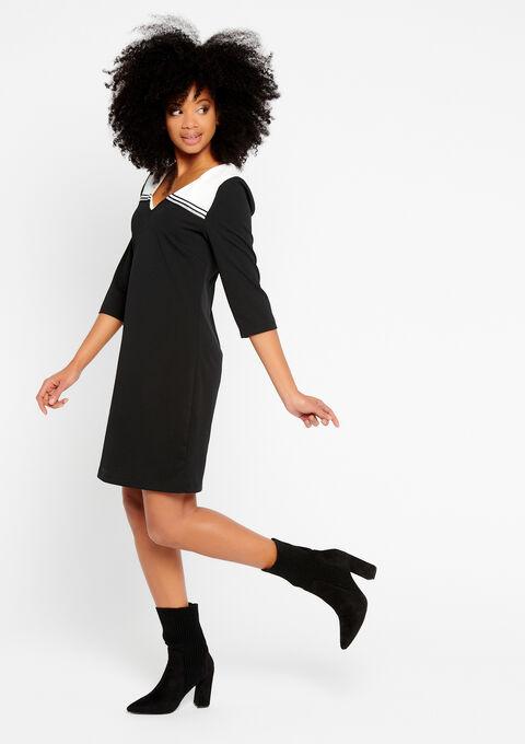 Rechte jurk, 2 kleuren en tape - BLACK - 932178