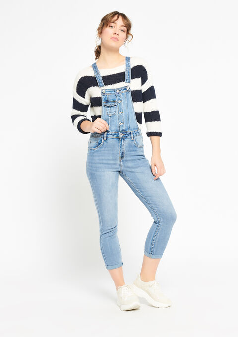 Salopette in jeans - BLUE BLEACHED - 22000132_502