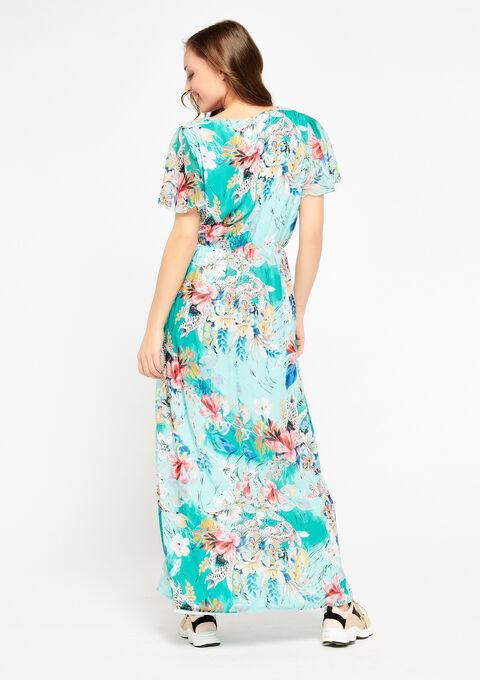 Robe longue à fleurs, col-v - LIGHT GREEN - 947035