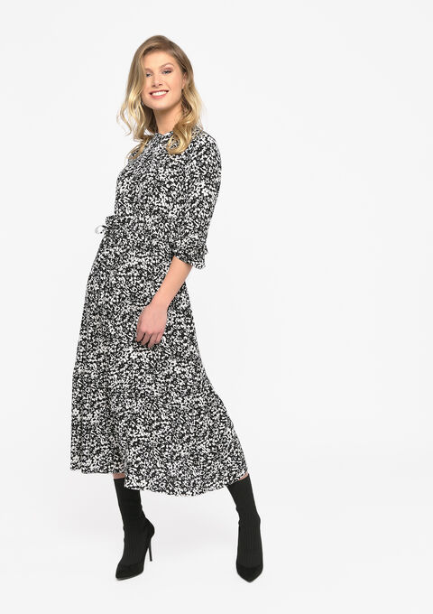 Maxi jurk met bloemenprint - BLACK BEAUTY - 08601079_2600