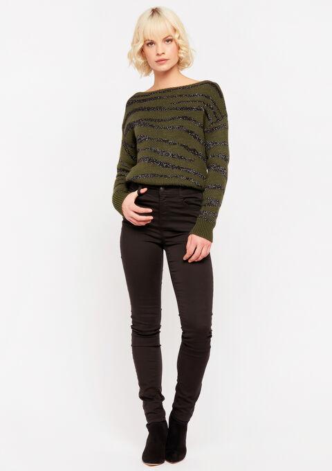 Slim fit broek met hoge taille - BLACK - 938432