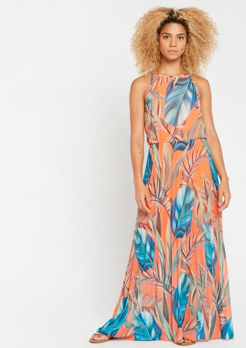 Robe longue, jupe plissée, à fleurs - ORANGE SUNSET - 952840