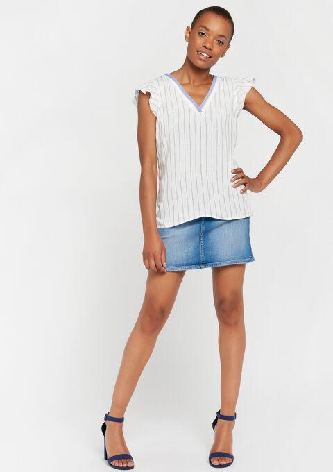 T-shirt lurex strepen - WHITE ALYSSUM - 959299
