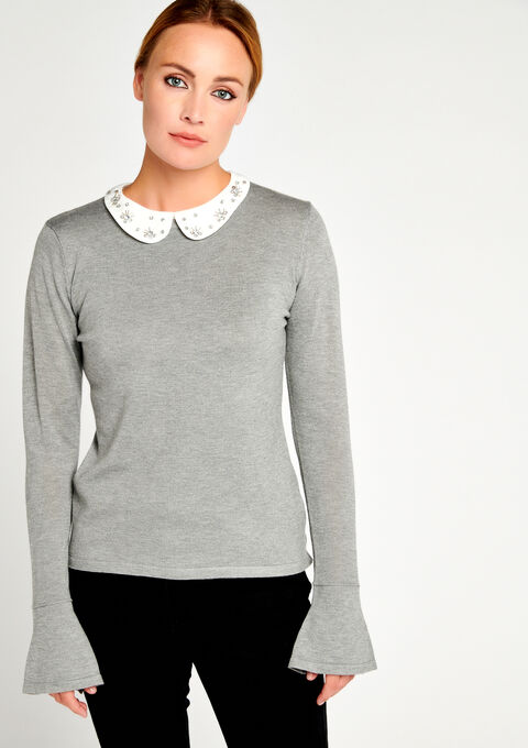 Pull uni, col chemise à strass - GREY TORNADO - 04004462_2034