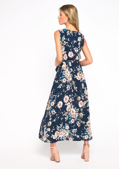 Robe longue, cache coeur, fleurs - NAVY BLUE - 08600978_1651