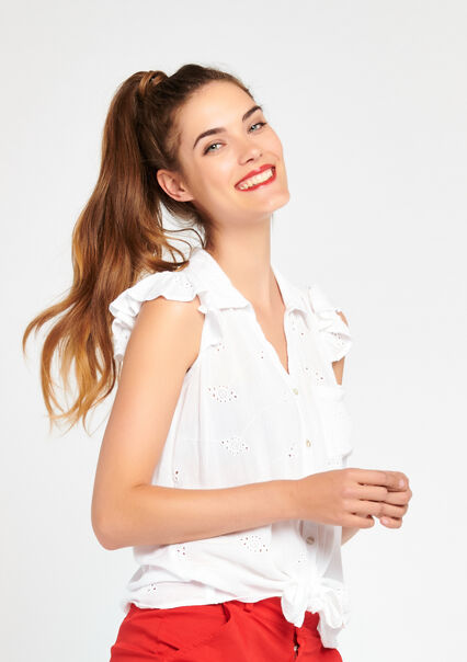 Blouse met broderie anglaise - IVORY WHITE - 05003336_1011