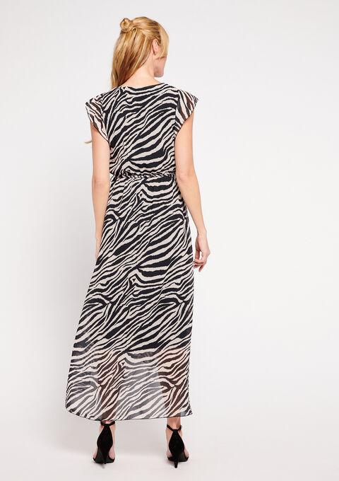Robe longue  'zèbre' col-v - BLACK BEAUTY - 08600140_2600