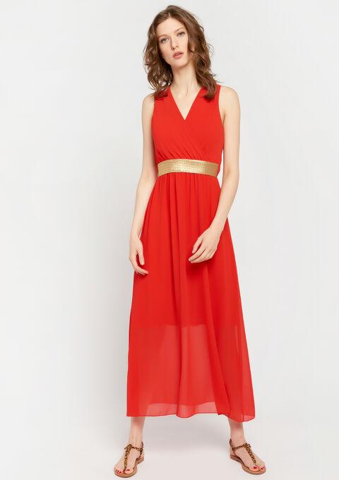 Effen max-jurk met cache coeur-hals - CORAL GERBERIA - 08600142_5405